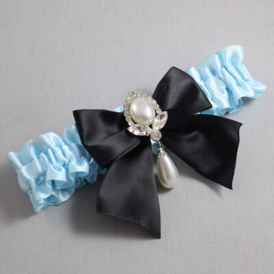 Alice Blue and Black Wedding Garter / Blue Wedding Garters / Jessica #01-B01-M32-305-Alice-Blue-123-Black / Wedding Garters / Custom Wedding Garters / Bridal Garter / Prom Garter / Linda Joyce Couture