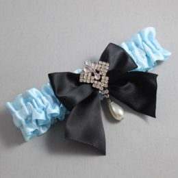 Alice Blue and Black Wedding Garter / Blue Wedding Garters / Madeline #01-B01-M33-305-Alice-Blue-123-Black / Wedding Garters / Custom Wedding Garters / Bridal Garter / Prom Garter / Linda Joyce Couture