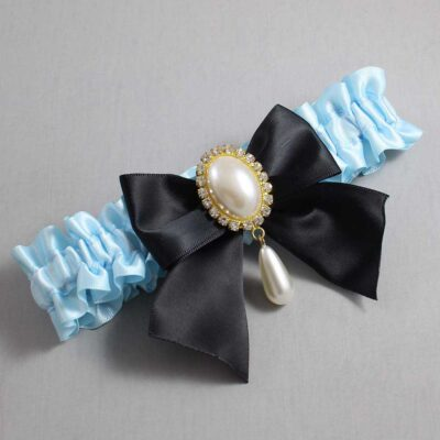 Alice Blue and Black Wedding Garter / Blue Wedding Garters / Michaela #01-B01-M34-305-Alice-Blue-123-Black / Wedding Garters / Custom Wedding Garters / Bridal Garter / Prom Garter / Linda Joyce Couture