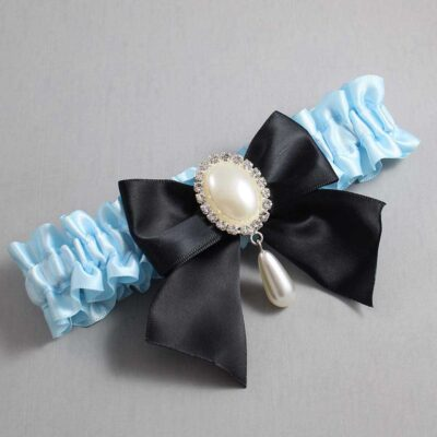 Alice Blue and Black Wedding Garter / Blue Wedding Garters / Michaela #01-B01-M35-305-Alice-Blue-123-Black / Wedding Garters / Custom Wedding Garters / Bridal Garter / Prom Garter / Linda Joyce Couture