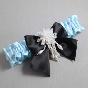 Alice Blue and Black Wedding Garter / Blue Wedding Garters / Daphne #01-B01-M38-305-Alice-Blue-123-Black / Wedding Garters / Custom Wedding Garters / Bridal Garter / Prom Garter / Linda Joyce Couture