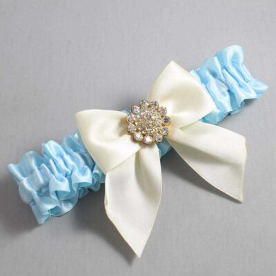 Alice Blue and Ivory Wedding Garter / Blue Wedding Garters / Penny #01-B01-M12-305-Alice-Blue-871-Ivory / Wedding Garters / Custom Wedding Garters / Bridal Garter / Prom Garter / Linda Joyce Couture