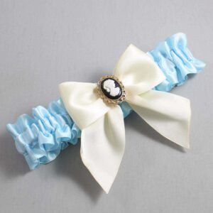 Alice Blue and Ivory Wedding Garter / Blue Wedding Garters / Amy #01-B01-M15-305-Alice-Blue-871-Ivory / Wedding Garters / Custom Wedding Garters / Bridal Garter / Prom Garter / Linda Joyce Couture
