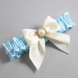 Alice Blue and Ivory Wedding Garter / Blue Wedding Garters / Paige #01-B01-M21-305-Alice-Blue-871-Ivory / Wedding Garters / Custom Wedding Garters / Bridal Garter / Prom Garter / Linda Joyce Couture