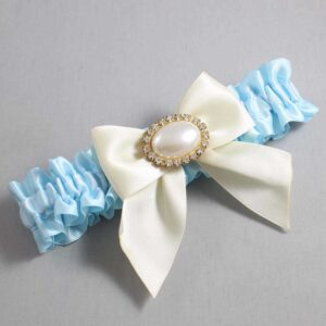 Alice Blue and Ivory Wedding Garter / Blue Wedding Garters / Nicole #01-B01-M28-305-Alice-Blue-871-Ivory / Wedding Garters / Custom Wedding Garters / Bridal Garter / Prom Garter / Linda Joyce Couture