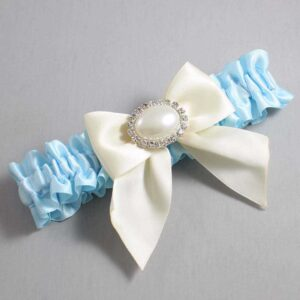 Alice Blue and Ivory Wedding Garter / Blue Wedding Garters / Nicole #01-B01-M30-305-Alice-Blue-871-Ivory / Wedding Garters / Custom Wedding Garters / Bridal Garter / Prom Garter / Linda Joyce Couture