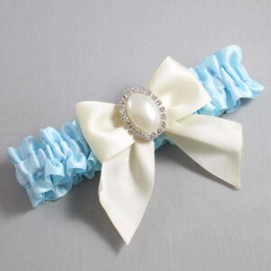 Alice Blue and Ivory Wedding Garter / Blue Wedding Garters / Maggie #01-B01-M31-305-Alice-Blue-871-Ivory / Wedding Garters / Custom Wedding Garters / Bridal Garter / Prom Garter / Linda Joyce Couture