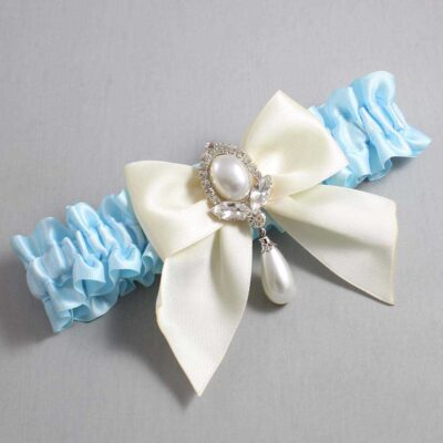 Alice Blue and Ivory Wedding Garter / Blue Wedding Garters / Jessica #01-B01-M32-305-Alice-Blue-871-Ivory / Wedding Garters / Custom Wedding Garters / Bridal Garter / Prom Garter / Linda Joyce Couture