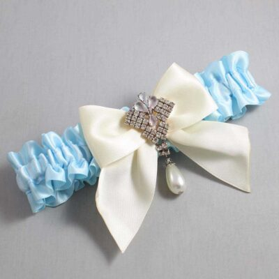 Alice Blue and Ivory Wedding Garter / Blue Wedding Garters / Madeline #01-B01-M33-305-Alice-Blue-871-Ivory / Wedding Garters / Custom Wedding Garters / Bridal Garter / Prom Garter / Linda Joyce Couture