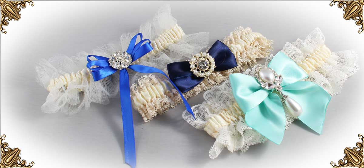 Ivory and Blue Wedding Garters