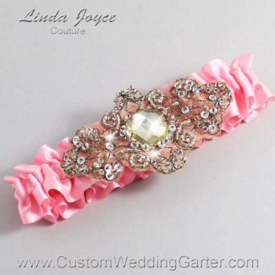 Pink and Brown Wedding Garter / Pink Wedding Garters / Bijou #01-A01-156-Pink_Antique / Wedding Garters / Custom Wedding Garters / Bridal Garter / Prom Garter / Linda Joyce Couture