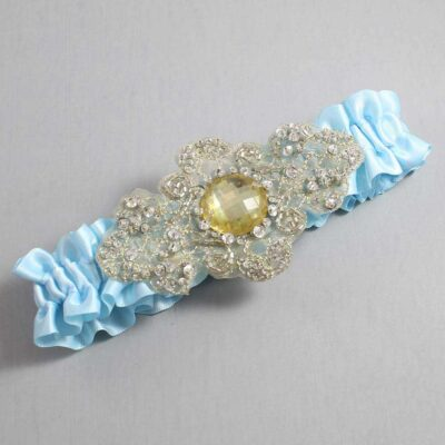 Alice Blue and Gold Wedding Garter / Blue Wedding Garters / Bijou #01-A03-305-Alice-Blue_Gold / Wedding Garters / Custom Wedding Garters / Bridal Garter / Prom Garter / Linda Joyce Couture
