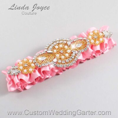 Pink and Gold Wedding Garter / Pink Wedding Garters / Charlotte #01-A05-156-Pink_Gold / Wedding Garters / Custom Wedding Garters / Bridal Garter / Prom Garter / Linda Joyce Couture