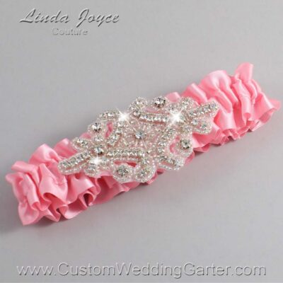 Pink Wedding Garter / Pink Wedding Garters / Heather #01-A07-156-Pink_Silver / Wedding Garters / Custom Wedding Garters / Bridal Garter / Prom Garter / Linda Joyce Couture
