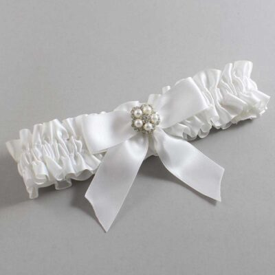 White Wedding Garter / White Wedding Garters / Prudence #01-B02-M20-112-White / Wedding Garters / Custom Wedding Garters / Bridal Garter / Prom Garter / Linda Joyce Couture