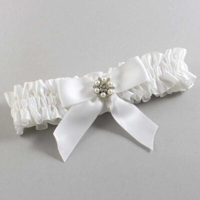White Wedding Garter / White Wedding Garters / Natasha #01-B02-M23-112-White / Wedding Garters / Custom Wedding Garters / Bridal Garter / Prom Garter / Linda Joyce Couture