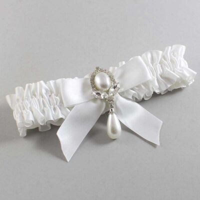 White Wedding Garter / White Wedding Garters / Tessa #01-B02-M32-112-White / Wedding Garters / Custom Wedding Garters / Bridal Garter / Prom Garter / Linda Joyce Couture