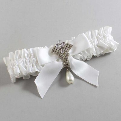 White Wedding Garter / White Wedding Garters / Vera #01-B02-M33-112-White / Wedding Garters / Custom Wedding Garters / Bridal Garter / Prom Garter / Linda Joyce Couture