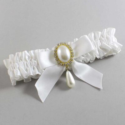 White Wedding Garter / White Wedding Garters / Trina #01-B02-M34-112-White / Wedding Garters / Custom Wedding Garters / Bridal Garter / Prom Garter / Linda Joyce Couture
