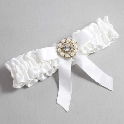 White Wedding Garter / White Wedding Garters / Caroline #01-B03-M14-112-White / Wedding Garters / Custom Wedding Garters / Bridal Garter / Prom Garter / Linda Joyce Couture