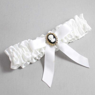 White Wedding Garter / White Wedding Garters / Dinah #01-B03-M15-112-White / Wedding Garters / Custom Wedding Garters / Bridal Garter / Prom Garter / Linda Joyce Couture