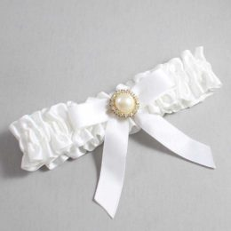 White Wedding Garter / White Wedding Garters / Doreen #01-B03-M21-112-White / Wedding Garters / Custom Wedding Garters / Bridal Garter / Prom Garter / Linda Joyce Couture