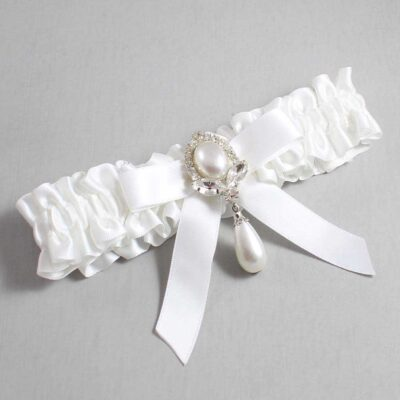 White Wedding Garter / White Wedding Garters / Bethany #01-B03-M32-112-White / Wedding Garters / Custom Wedding Garters / Bridal Garter / Prom Garter / Linda Joyce Couture