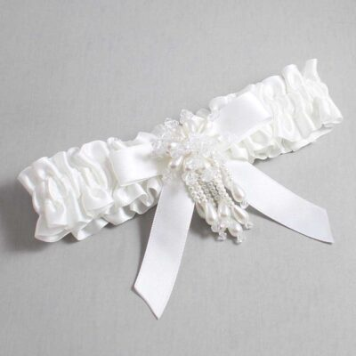 White Wedding Garter / White Wedding Garters / Kiley #01-B03-M38-112-White / Wedding Garters / Custom Wedding Garters / Bridal Garter / Prom Garter / Linda Joyce Couture