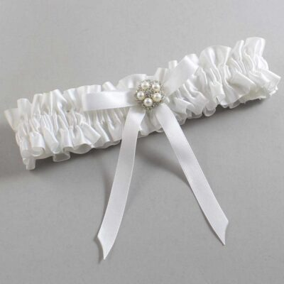 White Wedding Garter / White Wedding Garters / Cindi #01-B04-M20-112-White / Wedding Garters / Custom Wedding Garters / Bridal Garter / Prom Garter / Linda Joyce Couture