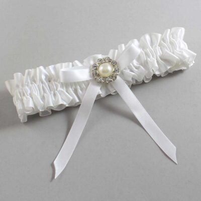 White Wedding Garter / White Wedding Garters / Diana #01-B04-M24-112-White / Wedding Garters / Custom Wedding Garters / Bridal Garter / Prom Garter / Linda Joyce Couture