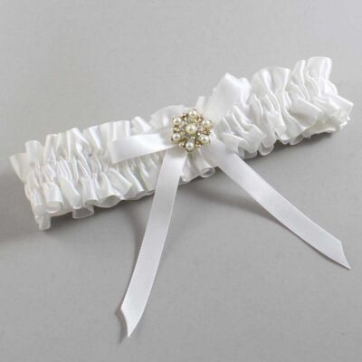 White Wedding Garter / White Wedding Garters / Dorinda #01-B04-M27-112-White / Wedding Garters / Custom Wedding Garters / Bridal Garter / Prom Garter / Linda Joyce Couture