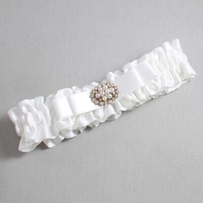 White Wedding Garter / White Wedding Garters / Lily #01-B20-M16-112-White / Wedding Garters / Custom Wedding Garters / Bridal Garter / Prom Garter / Linda Joyce Couture