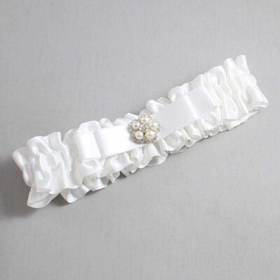 White Wedding Garter / White Wedding Garters / Audrey #01-B20-M20-112-White / Wedding Garters / Custom Wedding Garters / Bridal Garter / Prom Garter / Linda Joyce Couture
