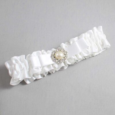 White Wedding Garter / White Wedding Garters / Brianna #01-B20-M24-112-White / Wedding Garters / Custom Wedding Garters / Bridal Garter / Prom Garter / Linda Joyce Couture