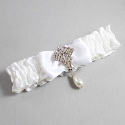 White Wedding Garter / White Wedding Garters / Mavis #01-B31-M33-112-White / Wedding Garters / Custom Wedding Garters / Bridal Garter / Prom Garter / Linda Joyce Couture