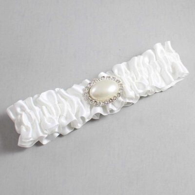 White Wedding Garter / White Wedding Garters / Jane #01-M30-112-White / Wedding Garters / Custom Wedding Garters / Bridal Garter / Prom Garter / Linda Joyce Couture