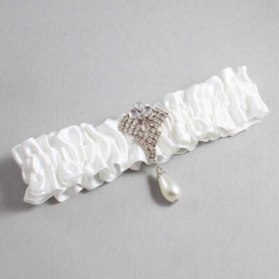 White Wedding Garter / White Wedding Garters / Lauren #01-M33-112-White / Wedding Garters / Custom Wedding Garters / Bridal Garter / Prom Garter / Linda Joyce Couture