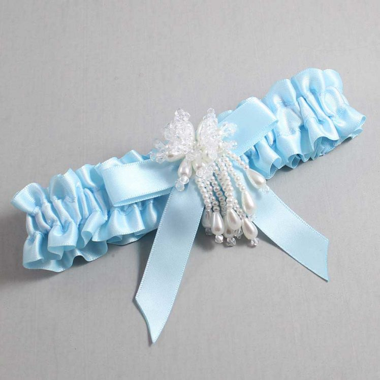 Alice Blue Wedding Garter / Blue Wedding Garters / Kiley #01-B03-M38-305-Alice-Blue / Wedding Garters / Custom Wedding Garters / Bridal Garter / Prom Garter / Linda Joyce Couture
