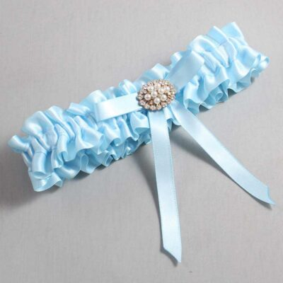 Alice Blue Wedding Garter / Blue Wedding Garters / Christal #01-B04-M16-305-Alice-Blue / Wedding Garters / Custom Wedding Garters / Bridal Garter / Prom Garter / Linda Joyce Couture