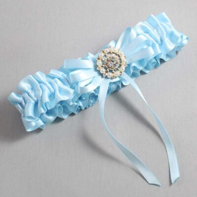Alice Blue Wedding Garter / Blue Wedding Garters / Caitlin #01-B11-M14-305-Alice-Blue / Wedding Garters / Custom Wedding Garters / Bridal Garter / Prom Garter / Linda Joyce Couture