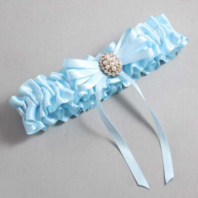 Alice Blue Wedding Garter / Blue Wedding Garters / Chrissy #01-B11-M17-305-Alice-Blue / Wedding Garters / Custom Wedding Garters / Bridal Garter / Prom Garter / Linda Joyce Couture