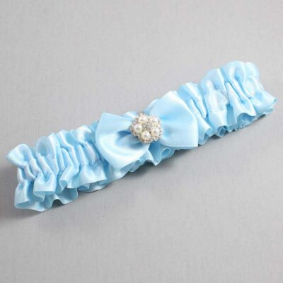 Alice Blue Wedding Garter / Blue Wedding Garters / Britney #01-B21-M20-305-Alice-Blue / Wedding Garters / Custom Wedding Garters / Bridal Garter / Prom Garter / Linda Joyce Couture