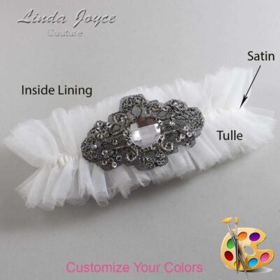 Couture Garters / Custom Wedding Garter / Customizable Wedding Garters / Personalized Wedding Garters / Bijou # 23-A02-Black / Wedding Garters / Bridal Garter / Prom Garter / Linda Joyce Couture