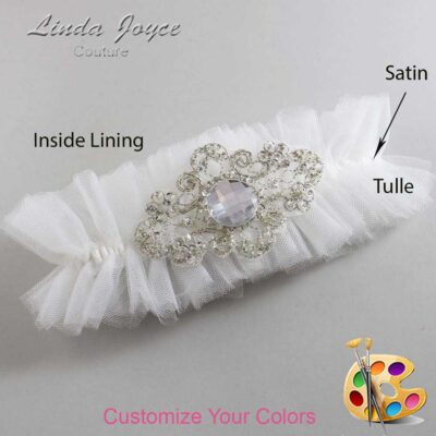 Couture Garters / Custom Wedding Garter / Customizable Wedding Garters / Personalized Wedding Garters / Bijou # 23-A04-Silver / Wedding Garters / Bridal Garter / Prom Garter / Linda Joyce Couture