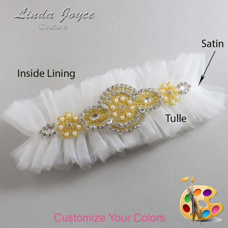 Couture Garters / Custom Wedding Garter / Customizable Wedding Garters / Personalized Wedding Garters / Charlotte # 23-A05-Gold / Wedding Garters / Bridal Garter / Prom Garter / Linda Joyce Couture