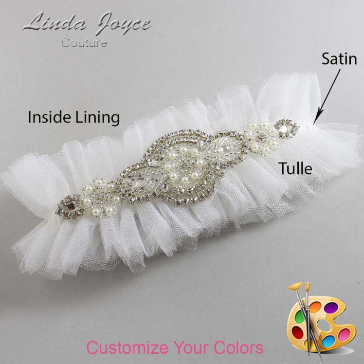Couture Garters / Custom Wedding Garter / Customizable Wedding Garters / Personalized Wedding Garters / Charlotte # 23-A06-Silver / Wedding Garters / Bridal Garter / Prom Garter / Linda Joyce Couture