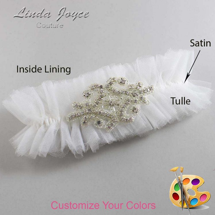 Couture Garters / Custom Wedding Garter / Customizable Wedding Garters / Personalized Wedding Garters / Heather # 23-A07-Silver / Wedding Garters / Bridal Garter / Prom Garter / Linda Joyce Couture