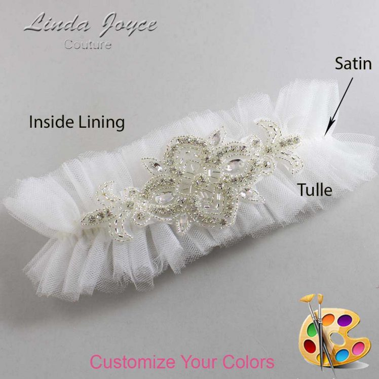 Couture Garters / Custom Wedding Garter / Customizable Wedding Garters / Personalized Wedding Garters / Isabella # 23-A08-Silver / Wedding Garters / Bridal Garter / Prom Garter / Linda Joyce Couture