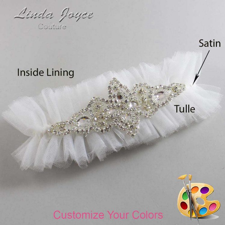 Couture Garters / Custom Wedding Garter / Customizable Wedding Garters / Personalized Wedding Garters / Lorine # 23-A09-Silver / Wedding Garters / Bridal Garter / Prom Garter / Linda Joyce Couture