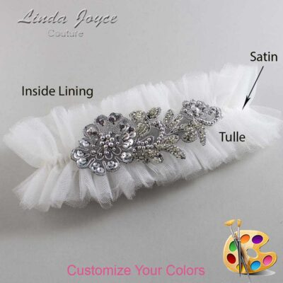 Couture Garters / Custom Wedding Garter / Customizable Wedding Garters / Personalized Wedding Garters / Mitzi # 23-A10-Gunmetal / Wedding Garters / Bridal Garter / Prom Garter / Linda Joyce Couture